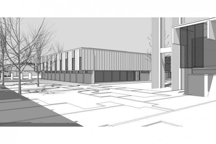 Saint Catherine's College, vista exterior da biblioteca, Oxford, Inglaterra, 1959-1964, arquiteto Arne Jacobsen<br />Modelo tridimensional de Edson Mahfuz e Ana Karina Christ