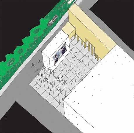 Eixo de estar urbano-ocupação de miolo de quadra-cinema ao ar livre<br />Imagem dos autores do projeto