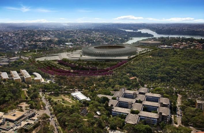 Novo Mineirão, vista panorâmica, Belo Horizonte MG. Projeto de reforma e adequação para Copa 2014 do escritório BCMF Arquitetos<br />Foto Alberto Andrich / BCMF Arquitetos