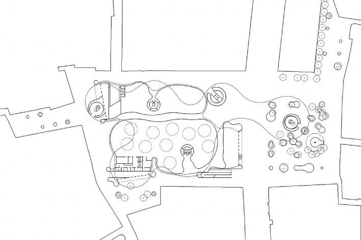 Metropol Parasol, planta térreo, Plaza de la Encarnacion, Sevilha. J. Mayer H. Architects, 2004<br />Desenho J. Mayer H. Architects