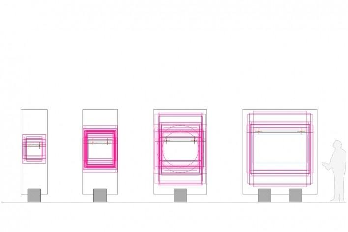 Cavaletes de vidro reconstruídos, sobreposição das dimensões dos quadros nos respectivos cavaletes. Metro Arquitetos