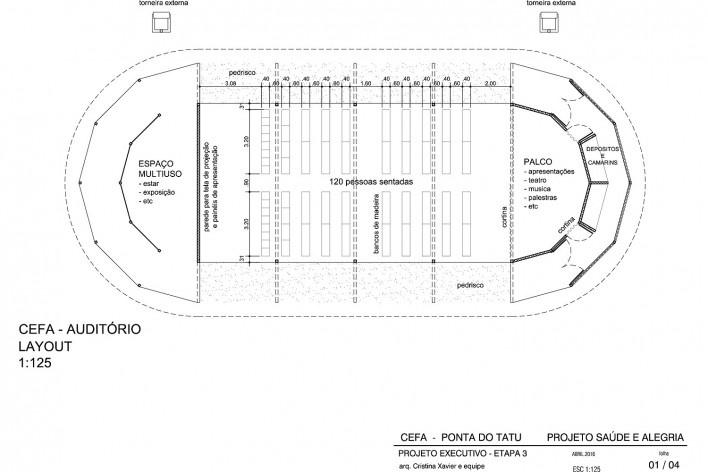 Centro Experimental Floresta Ativa - CEFA, planta auditório, RESEX Tapajó-Arapiuns PA. Arquiteta Cristina Xavier<br />Imagem divulgação