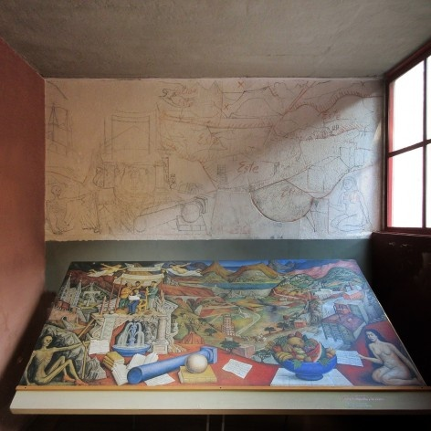 """Estudo encontrado na parede da Casa O'Gorman para a obra """"Entre a filosofia e a ciência"""", pertencente hoje ao Banco Nacional do México<br />Foto Victor Hugo Mori"""