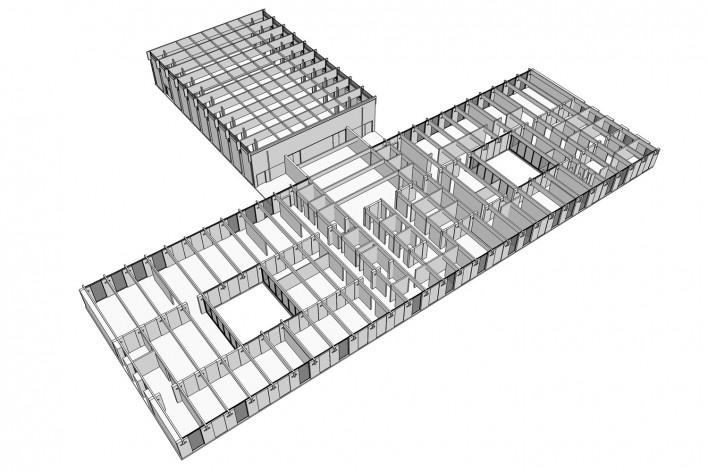 Saint Catherine's College, vista interior do refeitório, Oxford, Inglaterra, 1959-1964, arquiteto Arne Jacobsen<br />Modelo tridimensional de Edson Mahfuz e Ana Karina Christ