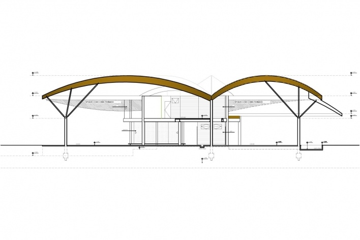 Casa Folha, corte longitudinal, Angra dos Reis RJ. Mareines + Patalano Arquitetura, 2008<br />Desenho Mareines + Patalano Arquitetura