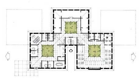 Edifício de apoio ao turismo - planta<br />Imagem dos autores do projeto
