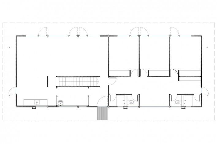 Vila Taguaí, planta piso térreo das casas 3 e 8, Carapicuiba SP, 2007-2010. Arquitetos Cristina Xavier (autora), Henrique Fina, Lucia Hashizume e João Xavier (colaboradores)