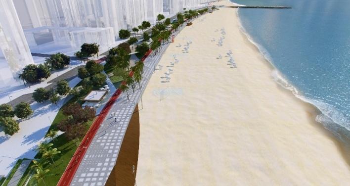 Visão geral do parque Beira-mar e calçadão proposto na faixa de engorda da praia