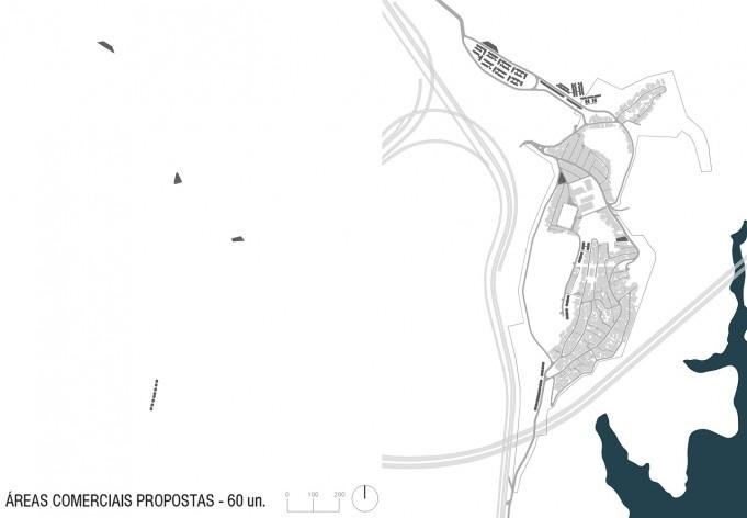 Diagrama de projeto. Áreas comerciais propostas. Projeto de Urbanização Integrada<br />Fonte Boldarini Arquitetos Associados