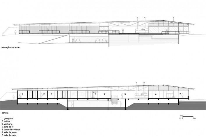 Residência Piracaia, elevação sudeste e corte a, Piracaia SP Brasil, 2012-2014. Arquitetos Lua Nitsche e Pedro Nitsche<br />Imagem divulgação  [Nitsche Arquitetos Associados]