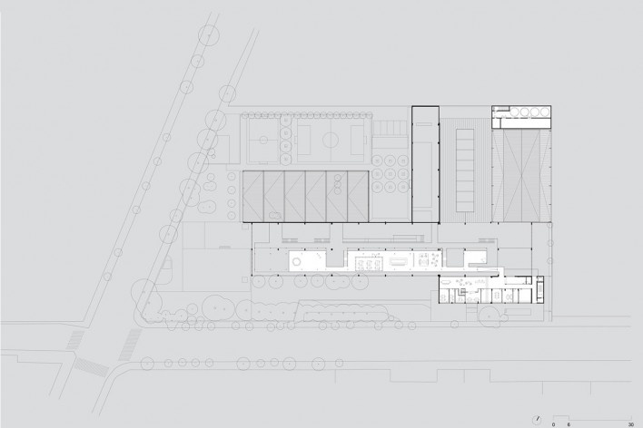Beacon School's new headquarters, second floor plan, São Paulo SP Brasil, 2016. Architects Vinicius Andrade, Marcelo Morettin, Marcelo Maia Rosa and Renata Andrulis / Guido Otero and Ricardo Gusmão (authors) / Andrade Morettin Arquitetos / Gusmão Otero Ar<br />Imagem divulgação / disclosure image  [Andrade Morettin Arquitetos / Gusmão Otero Arquitetos Associados]