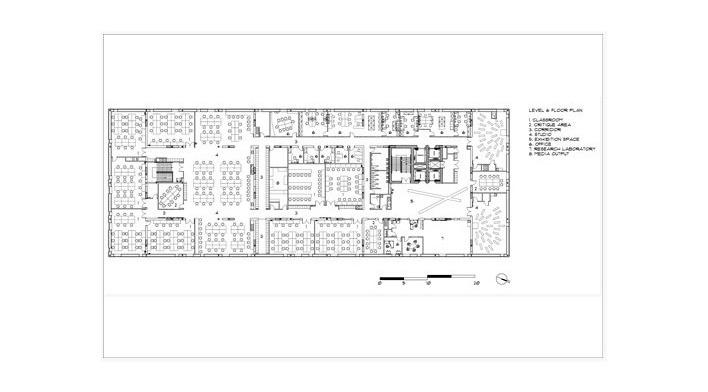 Sharp Center, planta 4o pavimento, Toronto, arquiteto Will Alsop, 2004. Legenda: 1. sala de aula; 2. zona crítica; 3. corredor; 4. estúdio; 5. exposição; 6. escritório; 7. laboratório de pesquisa; 8. sala de mídia<br />Imagem Alsop Architects