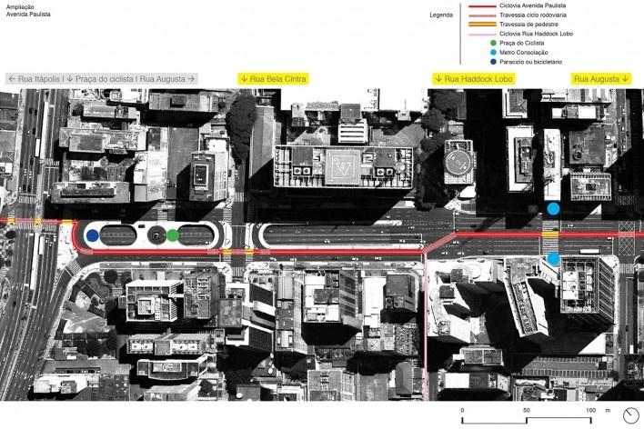 Proposta de implantação Paulista / Trecho Praça do ciclista. Encontro com ciclovia Rua Haddock Lobo. Na época ainda não havia previsão da ciclovia da Consolação. Somente a da Rua Itápolis.<br />Studio GGA