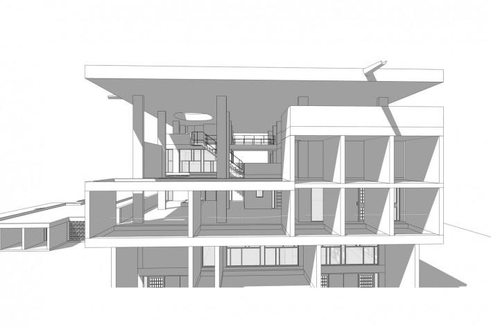Casa Shodhan, vista externa do edifício, Ahmedabad, Gujarat, Índia, 1951-56. Arquiteto Le Corbusier<br />Modelo tridimensional Gabriel Johansson Azeredo / Imagem Edson Mahfuz