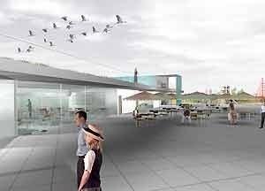 Centro Cultural e Centro Administrativo – ombrelones      <br />Imagem dos autores do projeto