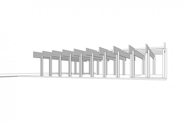 Saint Catherine's College, estrutura do refeitório, Oxford, Inglaterra, 1959-1964, arquiteto Arne Jacobsen<br />Modelo tridimensional de Edson Mahfuz e Ana Karina Christ