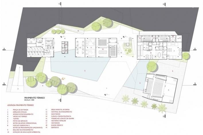 Concurso de Propostas Arquitetônicas para o futuro SESC Guarulhos, 3º lugar, pavimento térreo. Escritório Forte, Gimenes e Marcondes Ferraz<br />Desenho do escritório