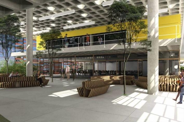 Concurso de Propostas Arquitetônicas para o futuro SESC Guarulhos, 3º lugar. Escritório Forte, Gimenes e Marcondes Ferraz<br />Desenho do escritório
