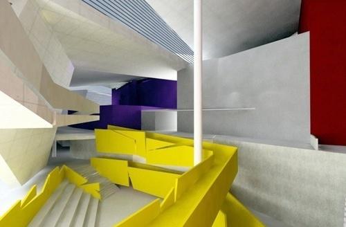 Perspectiva do foyer com a presença da passarela e o auditório interno <br />Imagem do autor do projeto