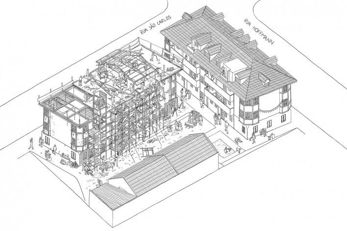 Vila Flores em construção<br />Imagem divulgação  [Acervo Goma Oficina]