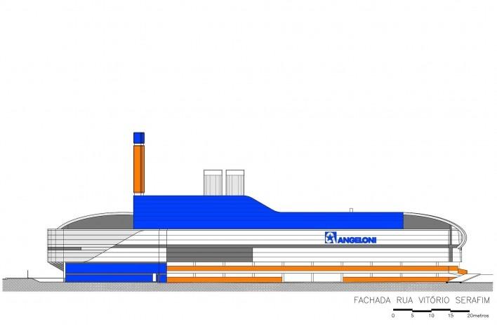 Supermercado Angeloni, elevação, Criciúma, 1976-1978 (original) e 2009-2011 (reforma e ampliação). Douglas Piccolo Arquitetura