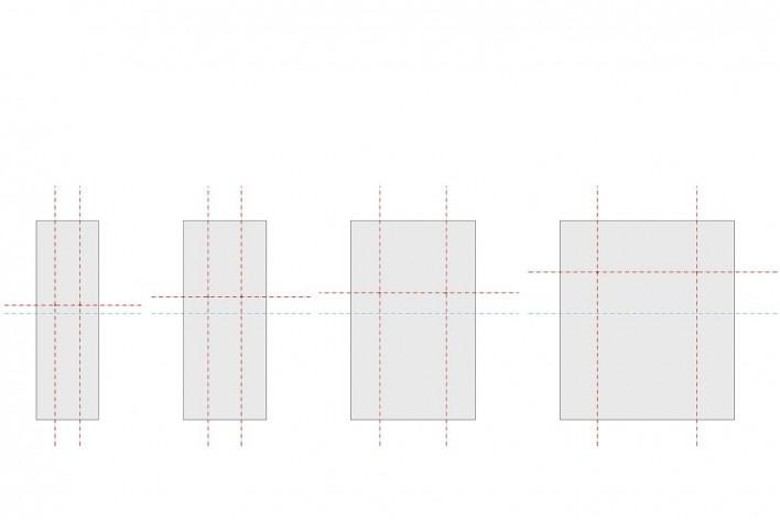 Cavaletes de vidro reconstruídos, variações de dimensionamento dos vidros. Metro Arquitetos Associados