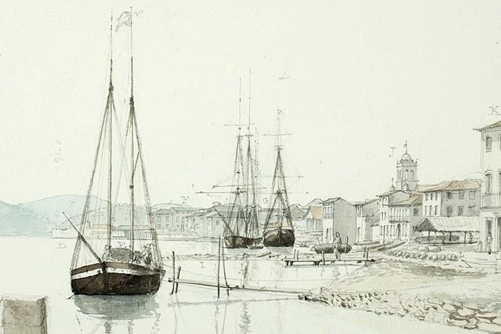 Brasil, Santos, Porto de Santos (detalhe da imagem anterior)<br />William John Burchell  [Collection Museum Africa, Johannesburg]