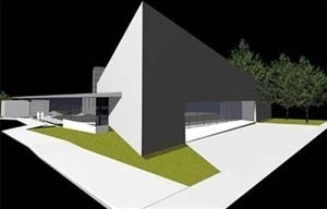 Vista do Teatro e Biblioteca<br />Imagem dos autores do projeto
