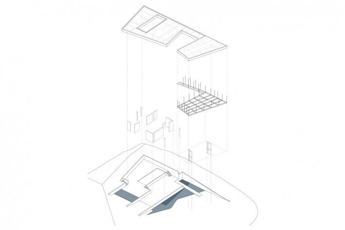 Casa em Cotia, UNA Arquitetos, 2016, axonométrica<br />UNA Arquitetos
