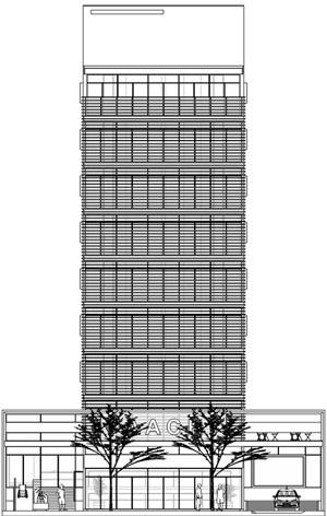 Nova Sede da AACRT – Associação dos Aposentados da Companhia Riograndense de Telecomunicações, fachada principal – nordeste. Moojen & Marques Arquitetos Associados + Arquiteto Cláudio Ferraro, 2008<br />Desenho escritórios