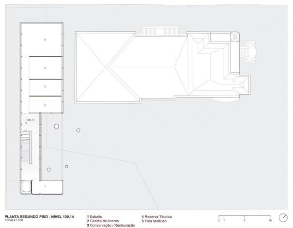 Museu da Diversidade Sexual, planta segundo piso, nível 109,14. Hereñú + Ferroni Arquitetos, 2014<br />Imagem divulgação