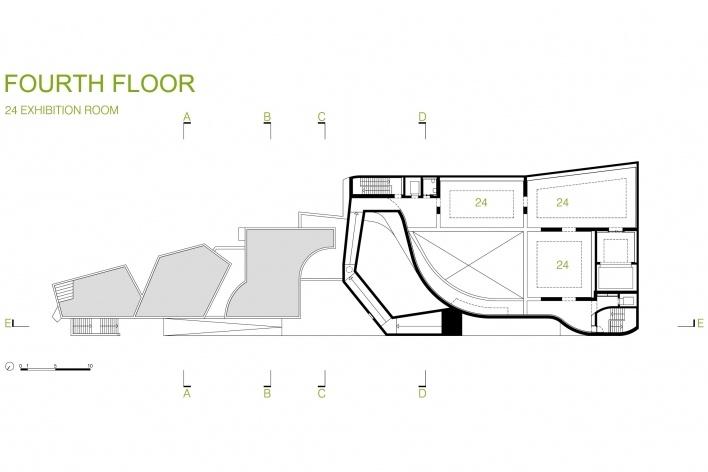 Sede da Fundação Iberê Camargo, planta do 4º pavimento. Arquiteto Álvaro Siza, 2008<br />Desenho escritório