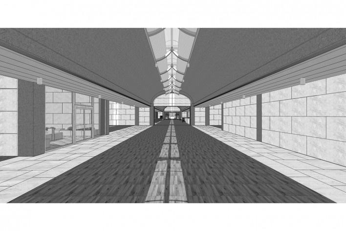 Museu de Arte Kimbell, vista interna, Fort Worth, Texas, EUA, 1972. Arquiteto Louis I. Kahn<br />Modelo tridimensional Miguel Bernardi / Imagem Edson Mahfuz