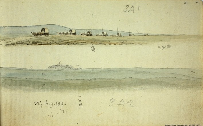 África do Sul: (a) A caravana, n. 341, 6 set 1811; (b) Spionberg, n. 342, 6 set 1811<br />William John Burchell  [Collection Museum Africa, Johannesburg]