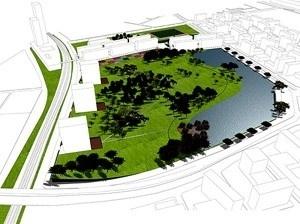 Perspectiva geral do parque<br />Imagem dos autores do projeto