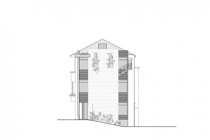 Casa Lutzenberger, fachada noroeste. Reforma Kiefer arquitetos