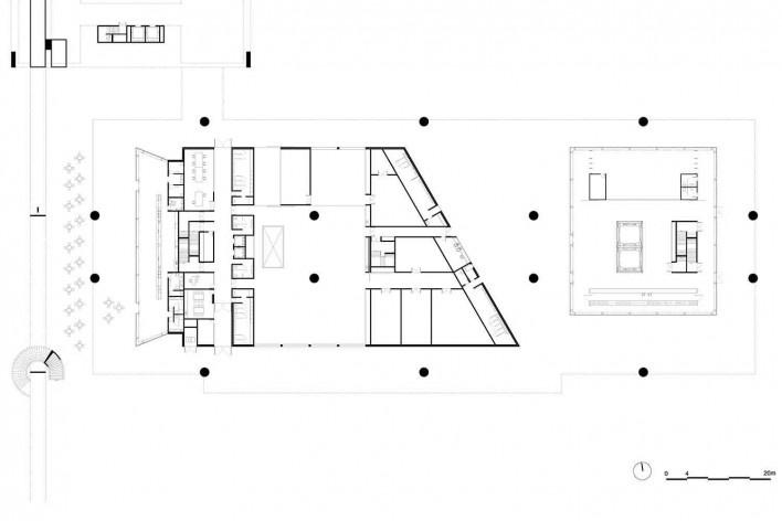 Museu Nacional dos Coches, planta térreo do pavilhão principal, Lisboa. Arquiteto Paulo Mendes da Rocha, MMBB arquitetos e Bak Gordon arquitetos<br />Imagem divulgação