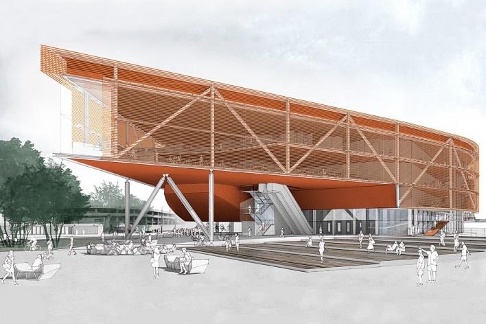 Concurso Anexo da Biblioteca Nacional, perspectiva, Rio de Janeiro, 1º lugar, arquiteto Hector Ernesto Vigliecca Gani<br />Imagem divulgação