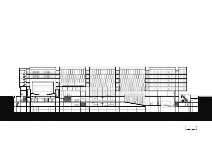 Nova Bocconi, corte transversal. Grafton Architects [Grafton Architects]