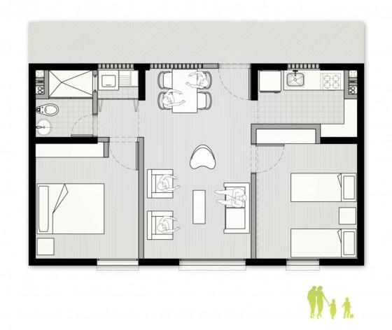 Exemplo de planta do apartamento. Concurso Habitação para Todos. CDHU. Edifícios de 6/7 pavimentos - 1º Lugar.<br />Autores do projeto  [equipe vencedora]
