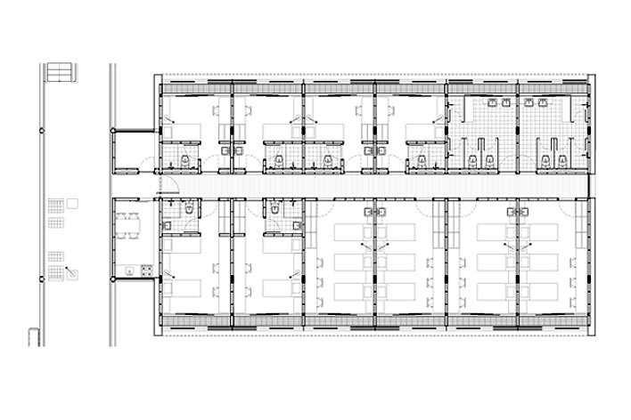 Dormitórios e alojamentos para professores e estudantes, planta ampliada do tipo. Sic Arquitetura, 2008<br />Desenho escritório