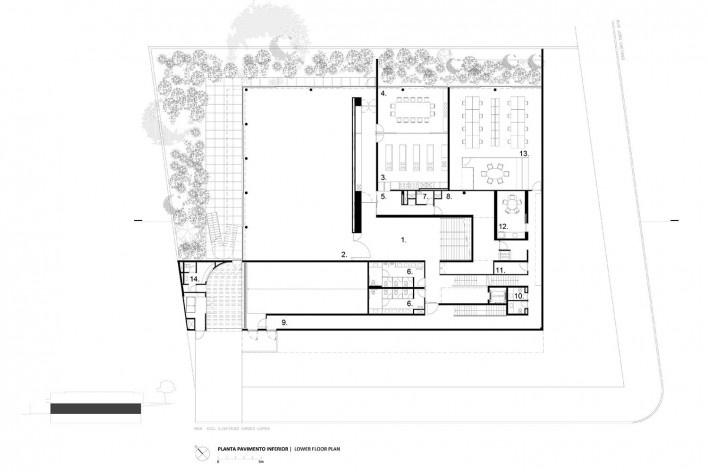 Instituto Ling, upper floor plan, Porto Alegre RS Brasil, 2014. Architect Isay Weinfeld (author)<br />Imagem divulgação / disclosure image  [Isay Weinfeld]
