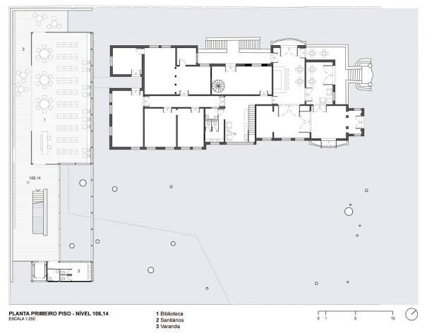 Museu da Diversidade Sexual, planta primeiro piso, nível 106,14. Hereñú + Ferroni Arquitetos, 2014<br />Imagem divulgação