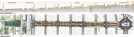 Eixo Praça das Bandeiras - Estação ferroviária<br />Imagem dos autores do projeto