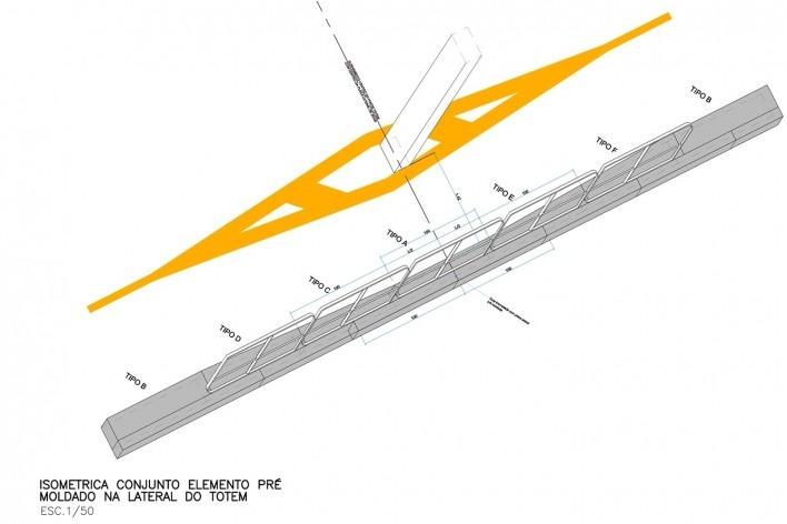 Ciclovia Paulista/ Isométrica da passagem por totem. Projeto previa uso de pré‐moldados em concreto.<br />Studio GGA