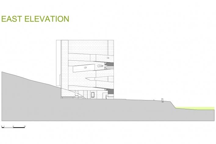 Sede da Fundação Iberê Camargo, elevação leste. Arquiteto Álvaro Siza, 2008<br />Desenho escritório