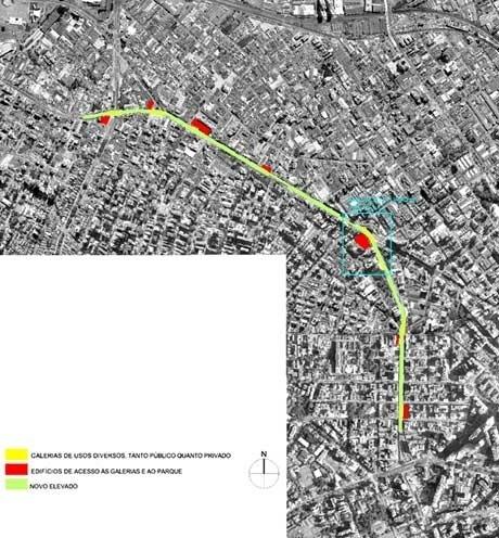 Localização dos edifícios de acesso<br />Imagens dos autores do projeto