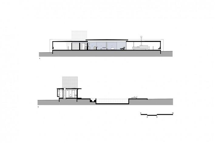 Casa Vila Rica, cortes AA e BB, Brasília DF Brasil, 2017. Arquitetos Daniel Mangabeira, Henrique Coutinho e Matheus Seco / Bloco Arquitetos<br />Imagem divulgação  [Bloco Arquitetos]