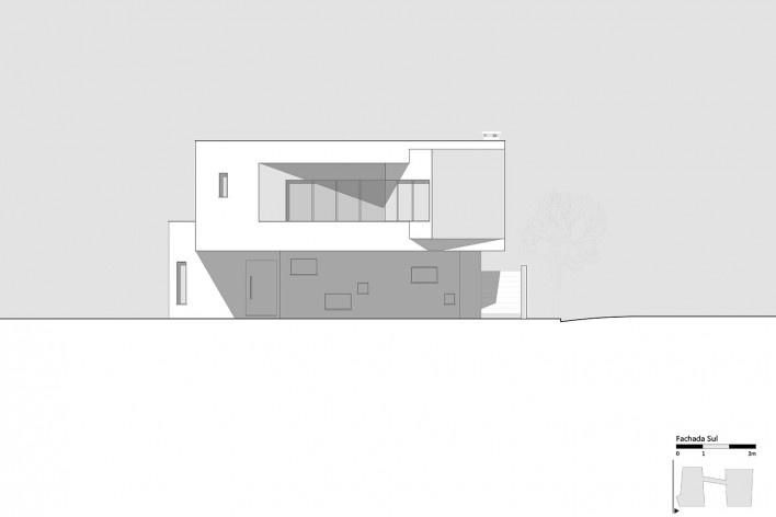 Casa 2V, elevação Sul, Porto Alegre RS Brasil, 2013. Arquitetos Diego Brasil e Anderson Calvi / BR3 Arquitetos<br />Imagem divulgação  [BR3 Arquitetos]