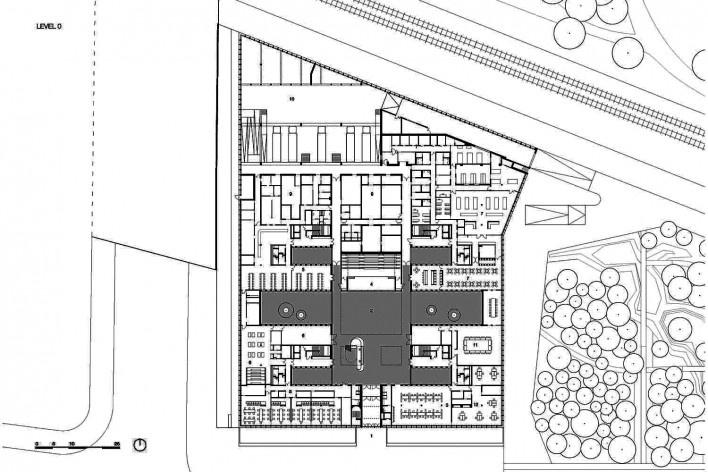 Câmara de Comércio e Artesanato de Hauts-de-France, planta pavimento térreo, Lille, França, 2019. Escritórios Kaan Architecten e Pranlas-Descours Architect & Associates<br />Imagem divulgação  [Kaan Architecten / Pranlas-Descours Architect & Associates]